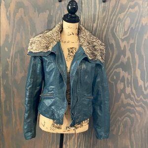 Teal vegan leather jacket faux fur collar